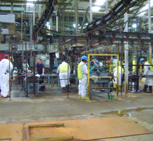 Employees in a manufacturing facility